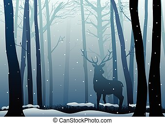 Silhouette of a deer in dark woods