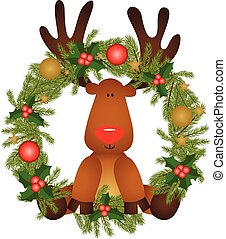 Reindeer sitting in a Christmas wreath