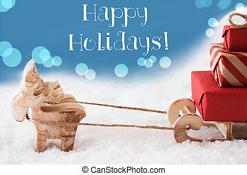 Reindeer, Sled, Light Blue Background, Text Happy Holidays