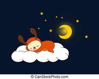 Reindeer sleeping on a cloud
