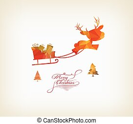 reindeer sleigh flying over forest
