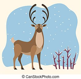 Big north deer stand on snowdrift in wood. Northern reindeer with large antlers. Cartoon polar character with brown fur coat. Snowy forest with shrubs. Vector illustration of wild animal in flat style