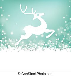 Reindeer Stars Snow Bokeh Stars Cover - Christmas card with...