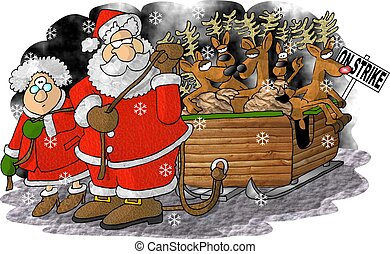 This illustration depicts Santa and Mrs Claus pulling a sleigh full of reindeer on strike