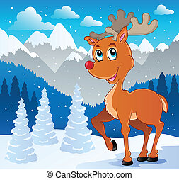 Reindeer theme image 4 - vector illustration.