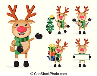Reindeer vector characters set. Rudolph cartoon characters holding christmas elements