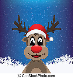 reindeer winter snowy background