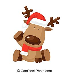 Reindeer with a raised hoof - Christmas Reindeer in Santa`s...
