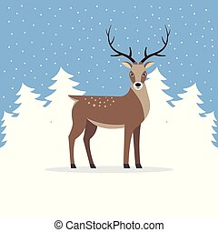 Reindeer with antler on background of trees.