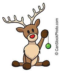 reindeer with christmas bulb