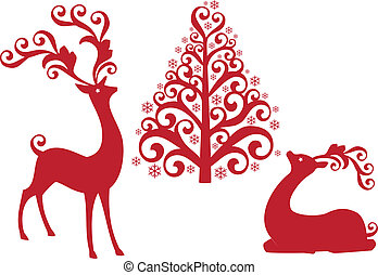red reindeer with ornamental christmas tree, vector background