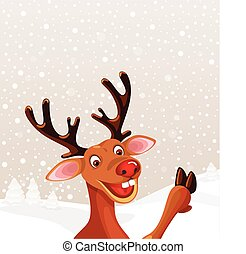 Reindeer with copy background - Reindeer with copy space...