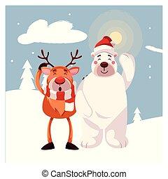 reindeer with polar bear in winter landscape