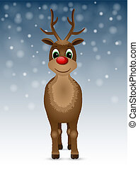 Reindeer with red nose.