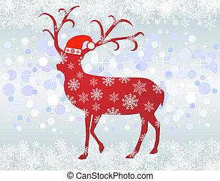 Reindeer with santa hat background - Reindeer with santa hat...