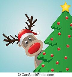 reindeer with santa hat behind chri