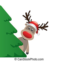 reindeer with santa hat behind tree