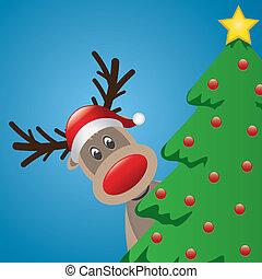 reindeer with santa hat