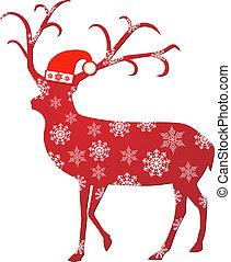 Reindeer with santa hat vector illustration eps 10