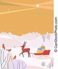 Reindeer with Santa Sleigh