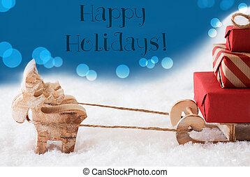 Reindeer With Sled, Blue Background, Text Happy Holidays