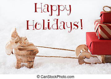Reindeer With Sled On Snow, Text Happy Holidays