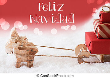 Reindeer With Sled, Red Background, Feliz Navidad Means Merry Christmas