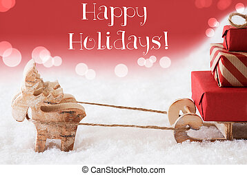 Reindeer With Sled, Red Background, Text Happy Holidays