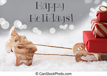 Reindeer With Sled, Silver Background, Text Happy Holidays