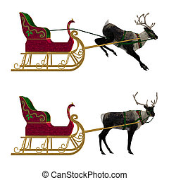 Reindeer with sleigh - Digitally rendered illustration of a ...