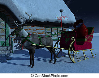 Reindeer with sleigh waiting outside Santa Claus\' house.