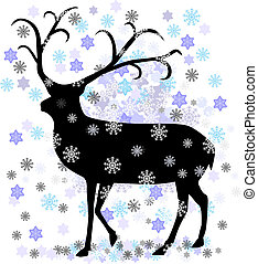 Reindeer with snow star vector illustration eps 10