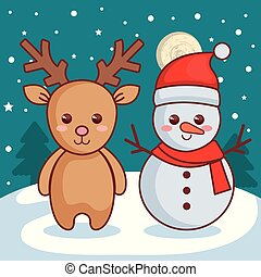 reindeer with snowman christmas characters icon