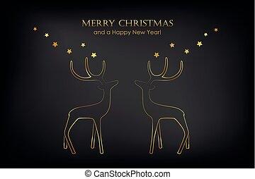 Doré, félicitation, fond, diwali, noir, étoiles, heureux ...