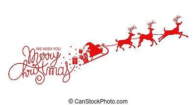 reindeers, claus, santa, そりで滑べりなさい
