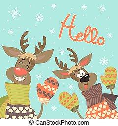 reindeers, dire, bonjour