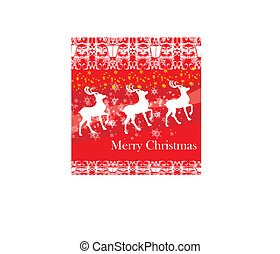 reindeers flying stars, red background