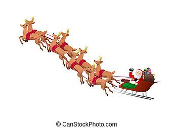 reindeers pulling santa claus sleigh
