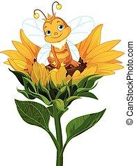 reine abeilles, sur, tournesol