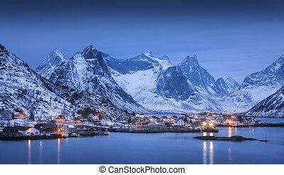 Reine at night in Lofoten islands, Norway. Winter landscape