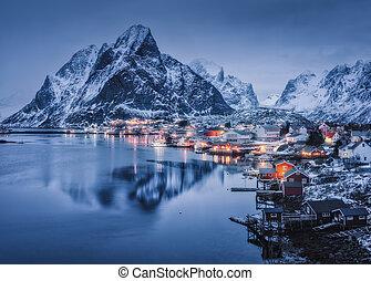 Reine at night, Lofoten islands, Norway. Winter