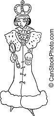 reine, femme, dessin animé, illustration
