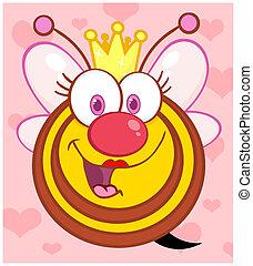 reine, fond, sur, abeille