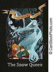 reine, gerda, kai, neige, illustration, conte, fée