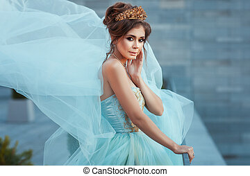 reine, girl, dress., couronne