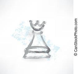 reine, grunge, échecs, icône