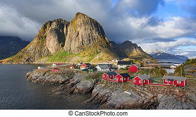 reine, pêchant village, dans, lofoten, îles, norvège