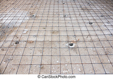 Reinforce iron cage net for built building floor in construction site