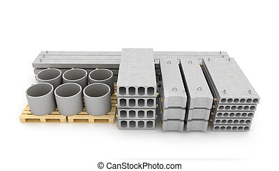 Reinforced concrete items on white background. 3D ...