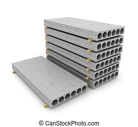 Reinforced concrete items on white background. 3D...
